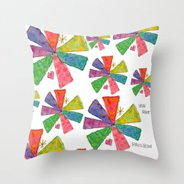 You Are Rainbow flower illustration floral pattern self-love pride Throw Pillow
