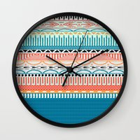 sweater Wall Clocks featuring Sweater Pattern by Gretel Digo