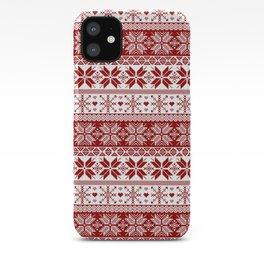 Red Winter Fair Isle Pattern iPhone Case