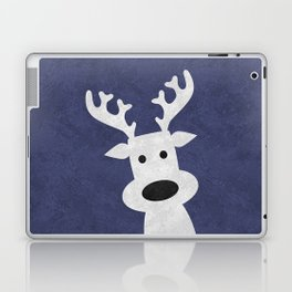 Christmas reindeer blue marble Laptop & iPad Skin