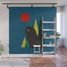 Waiting for you Black Pug Wall Mural
