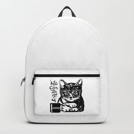 Funny cat motivated by coffee Backpack