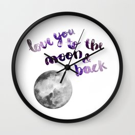 """PERIWINKLE """"LOVE YOU TO THE MOON AND BACK"""" QUOTE + MOON Wall Clock"""