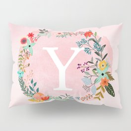 Flower Wreath with Personalized Monogram Initial Letter Y on Pink Watercolor Paper Texture Artwork Pillow Sham