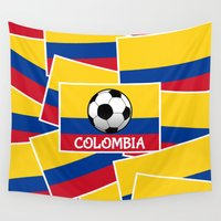football Wall Tapestries featuring Colombia Football by mailboxdisco