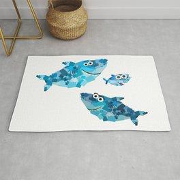 Square Shark Family! - Doo Doo Doo - Mommy, Daddy, Baby! Rug