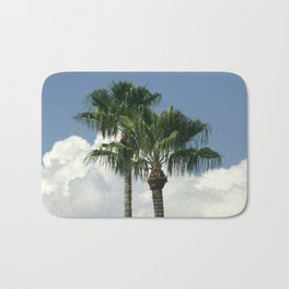 Palm Trees Floating in White Billowy Clouds Bath Mat