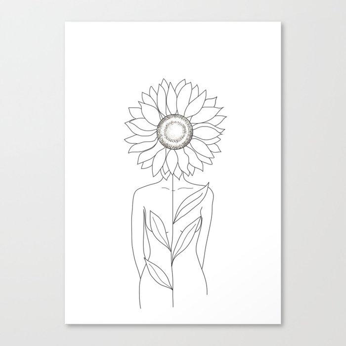 Minimalistic Line Art of Woman with Sunflower Leinwanddruck