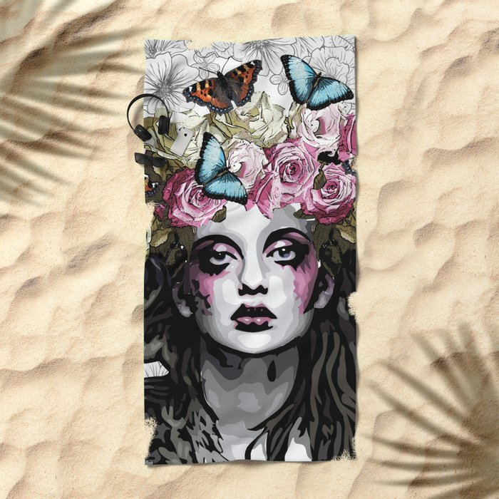 Rose, portrait of a woman with roses Beach Towel