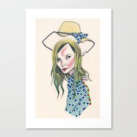kate moss Canvas Prints featuring Kate Moss by Sindecualo
