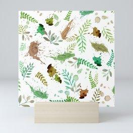 Green Leaves, Paint Splatter, Pattern Mini Art Print
