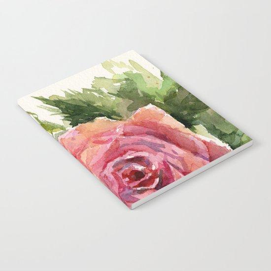 Red Rose Watercolor Pink Rose Flower Floral Art Notebook
