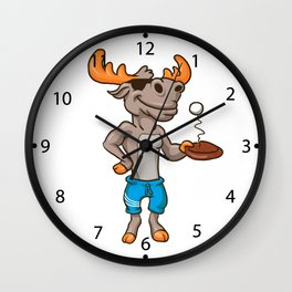 Funny illustration of a moose with racket and ball Wall Clock