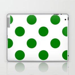 Large Polka Dots - Green on White Laptop & iPad Skin