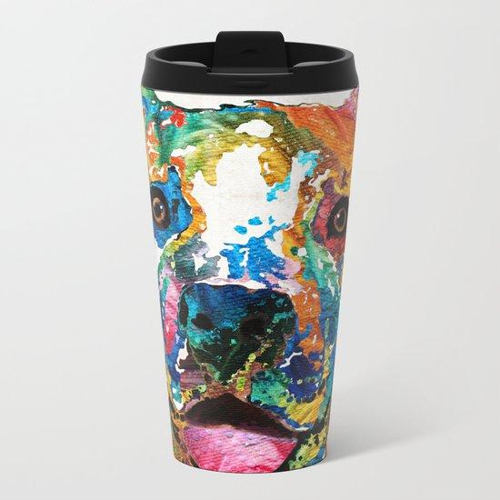 Colorful Dog Pit Bull Art - Happy - By Sharon Cummings Metal Travel Mug
