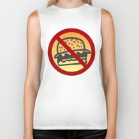 junk food Biker Tanks featuring No Junk Food Zone by Geni