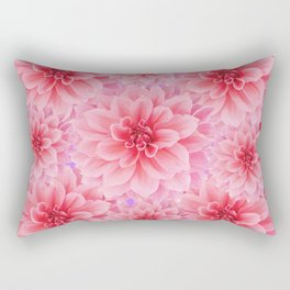 PINK DAHLIA FLOWERS IN RED COLOR ART Rectangular Pillow