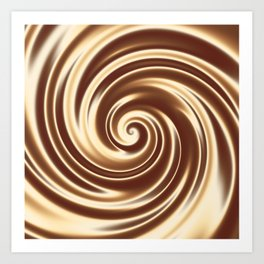 Chocolate milk cocktail spiral Art Print