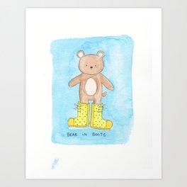 Bear in Boots Art Print