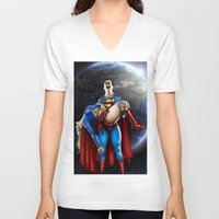 supergirl V-neck T-shirts featuring The death of Supergirl by Bungle