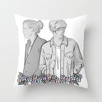 larry stylinson Throw Pillows featuring Larry Stylinson - black and white by Feds
