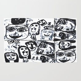 Funny Face | Pop Art | Black and White Rug