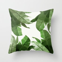 Tropical Palm Print Treetop Greenery Throw Pillow