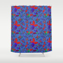 Pattern with Firebirds (on blue background) Shower Curtain