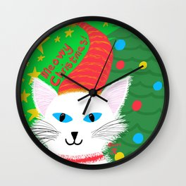 Christmas Cat Long white hair blue eyes Wall Clock