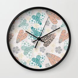 Pastel tone insects in flower field Wall Clock