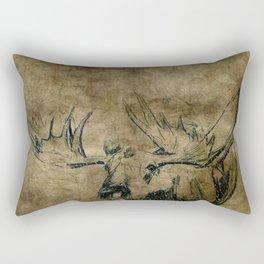 Moose Woodland Illustration Textured Fine Art Rectangular Pillow