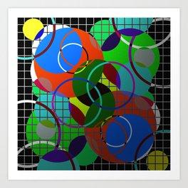 Caged Geometry - Abstract, metallic, geometric, rainbow coloured circles Art Print