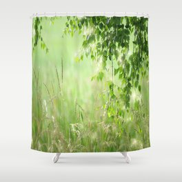Birch leaves with Green Grass Shower Curtain