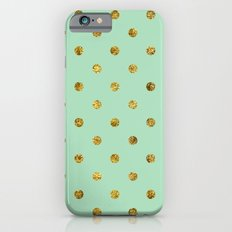 Chic Gold and Mint Dots iPhone 6 Slim Case