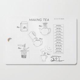 Making Tea Blueprint Cutting Board