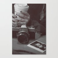 cafe Canvas Prints featuring Cafe by Jessica Krzywicki