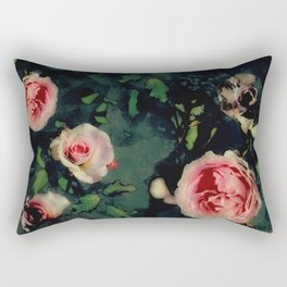 Big Pink Roses and Green Leaves Graphic Rectangular Pillow
