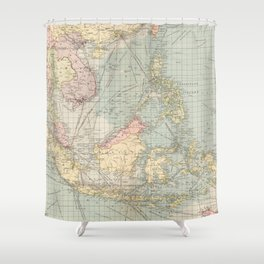 Vintage Map of Indonesia and The Philippine Ports (1905) Shower Curtain