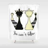 feminism Shower Curtains featuring Chess Game Women Power - Feminism by La Gata Venenosa
