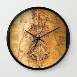 Anatomical drawings by Leonardo Da Vinci Wall Clock