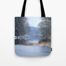 Blue Moment By The Lake Tote Bag