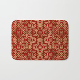 Chinese Pattern Double Happiness Symbol Gold on Red Bath Mat
