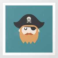 pirate Art Prints featuring Pirate by Beardy Graphics