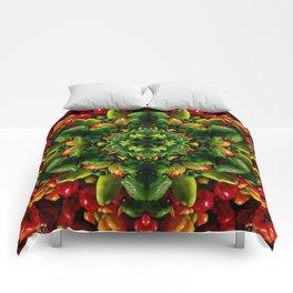 Peppy pepper mandala - green center Comforters