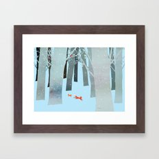 Two Foxes Running in the Woods Framed Art Print