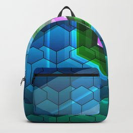 Contemporary abstract honeycomb, blue and green graphic grid with geometric shapes Backpack