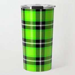 UFO GREEN Chartreuse (#7fff00) color themed SCOTTISH TARTAN Checkered Fabric Pattern texture Travel Mug