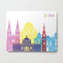 Zagreb skyline pop Metal Print