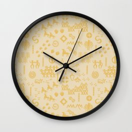 Peoples Story - Gold on Beige Wall Clock