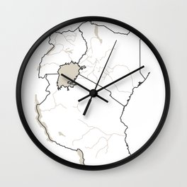 East Africa Map - Rivers Wall Clock